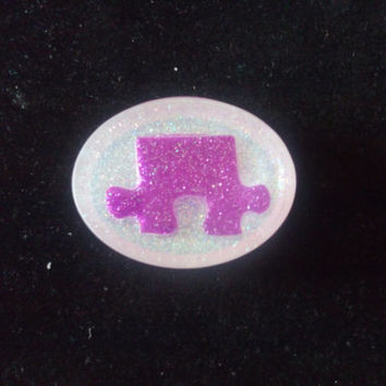 Autism Awareness Purple Glitter Puzzle Piece Resin Magnet