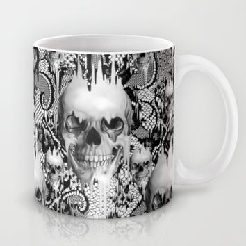 Victorian gothic lace skull pattern Mug by Kristy Patterson Design