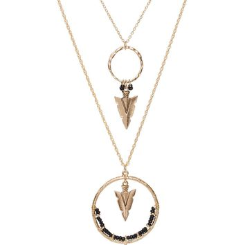 Spinning Arrow Necklace - Black
