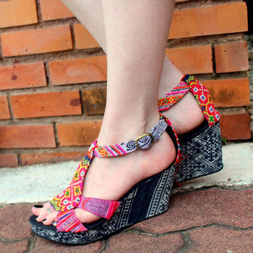 Womens Ethnic Shoe Colorful Hmong Embroidery With Indigo Batik Wedge Heel
