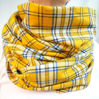 Yellow Plaid Infinity Scarf, Tartan Scarf, Denim Blue and Yellow, Soft Brushed Cotton, Winter Scarf, Womens Scarf, Oversized Scarf, Gift