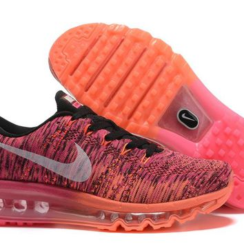 """Nike Air Max Flyknit"" Women Sport Casual Rainbow Flywire Weave Air Cushion Sneakers Running Shoes"