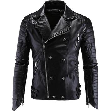 Skull Punk Leather Jacket Skull Motorcycle Multi Zippers Slim Fit