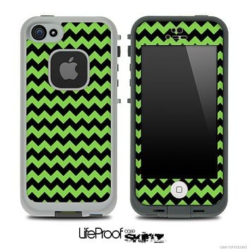 V4 Chevron Pattern Black and Green Skin for the iPhone 5 or 4/4s LifeProof Case