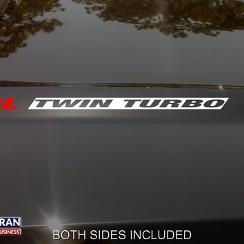 3.5L TWIN TURBO Hood Vinyl Decals Stickers Fit Ford F150 Mustang EcoBoost V6 INV