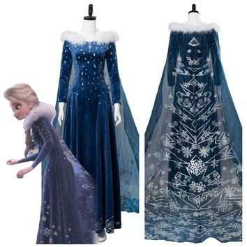 Olaf's Adventure Princess Elsa Dress Cosplay Costume Adult Women Girls Halloween Carnival Cosplay Costume