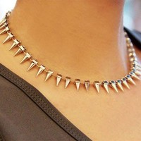 Vintage Rivet Rhinestone Choker Necklace from http://www.looback.com/