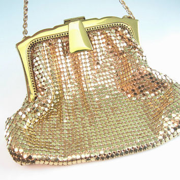 Whiting & Davis Mesh Purse Gold Mesh Glomesh Evening Bag Art Deco Style Wedding Accessory