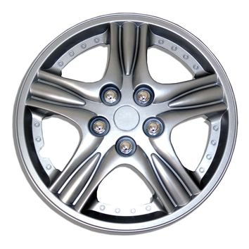 "Set of 4  Metallic Silver Hubcaps 15"" WSC-510S15 - Hub Caps Wheel Skin Cover 15 Inches 4 Pcs Set"