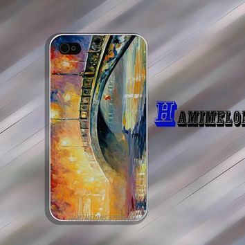 "iPhone 4/4S Case. Oil painting Bridge  lights ""Board Wood"" Wood Case with apple . Giant Sparrows Collection"