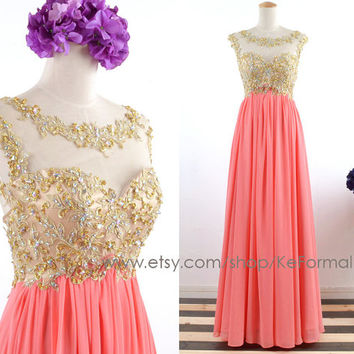 Gold Lace With Crystal Long Coral Prom From Keformal On Etsy