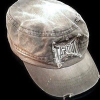 Tapout Green Cadet Hat Cap Distressed Size L / XL 100% Cotton Non-Adjustable Hip Swag Style Cap Men's Gift Vintage Sun Cap