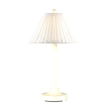 "Shangri-La 34"" Table Lamp with 2"" White Tube Body and Tight Weave, Round Wicker, White Shade"