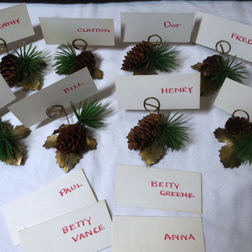 1950s or 1960s Vintage Pine Cone Christmas Place Card Holders - Set of 8 with Real Pine Cones & Metal Leaf