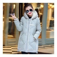 Down Coat Woman Middle Long Hoodied Slim Winter    grey