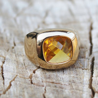 Vintage Men's Yellow Citrine Ring