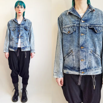 Vintage Denim Jacket 80s Clothing 80s Jean Jacket Vintage Grunge Jean Jacket Vintage Jacket Acid Wash Jean Jacket Size Medium Made in USA