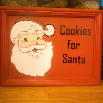 Santa cookie tray - Christmas cookie tray - decorative Christmas tray -cookies for santa- santa cookie dish