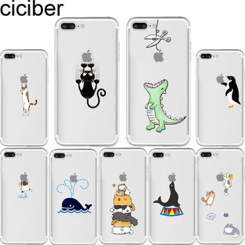 Cute Animals Kitty Cat Penguin Dragon Soft Silicone Phone Cases Cover for Iphone 6 6S 7 8 plus X 5S SE
