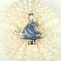 Wave Locket Genuine Sea Glass Necklace In Blue