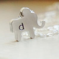 Personalized Elephant Necklace - Custom Hand Stamped Elephant Charm Sterling Silver Chain - Initial Necklace - Mommys Necklace
