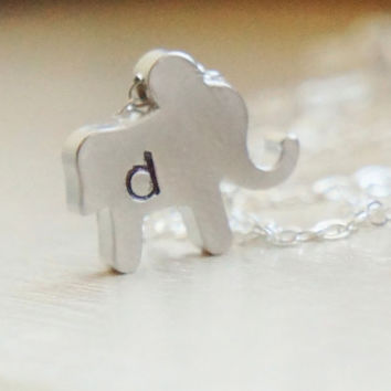 Personalized Elephant Initial Necklace  Hand Stamped by RiverValleyJewelry