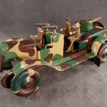 Vintage Wind-Up Tin Toy - Camouflage Military Vehicle