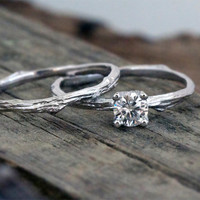 Prong setting round Moissanite engagement ring / 14k white gold / organic unique bridal set