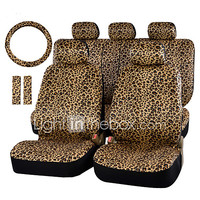 AUTOYOUTH Luxury Leopard Print Car Seat Cover and 15 Universal Steering Wheel Car Seat Protector 2017 - $32.99