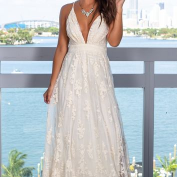 Cream Embroidered Maxi Dress with Criss Cross Back
