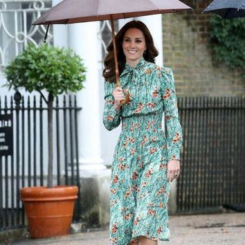 princess kate middleton Green Poppy-print dress 2018 spring women dress long sleeve bow tie smocked waistband party dress