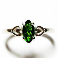 "Chrome diopside ring, solitaire ring, green ring, s 7 """"Emerald City"""