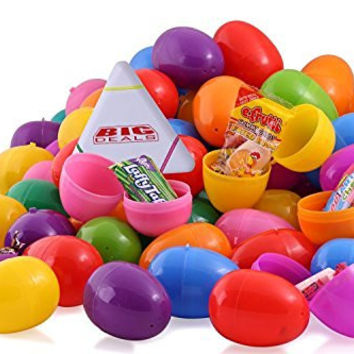 50 Candy filled Easter eggs, surprise eggs filled with Easter candies, 50 pack great for Easter eggs school hunt, Surprise Eggs Hinged Together with Bonus Multi Color Highlighter