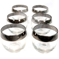Mad Men Glasses Set of 6 Mid Century Roly Poly Dorothy Thorpe Style with Silver Rim