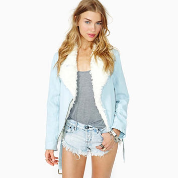 With Inner Bag Blue Zippers Shaped Jacket [6407743428]