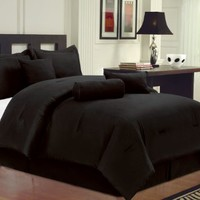 Textiles Plus 7-Piece Microfiber Bed-in-a-Bag Comforter Set, Queen, Solid Black