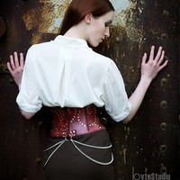 Leather Steampunk Corset Belt by MisfitLeather on Etsy