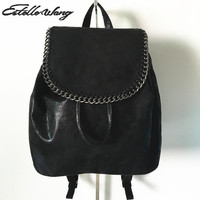 Fashion women Backpack Drawstring Chain Bucket Bags Pu Leather Rucksack Vintage Backpack Bagpack