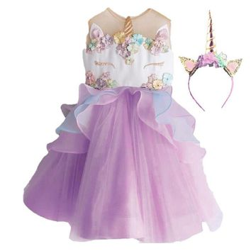 Unicorn Tutu Purple White Flowers Dress