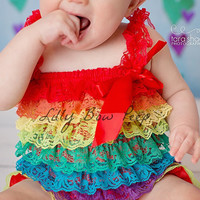 Rainbow Lace Petti Romper-Preemie-Newborn-Infant-Child-Toddler-Red Green Blue Yellow Orange-Birthday Cake Smash-Vintage-Baby Girl Clothes