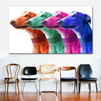 SELFLESSLY ART Pop Art Canvas Painting Poster Prints Greyhound Animal Oil Painting Modern Colorful Galgo Wall Art Picture