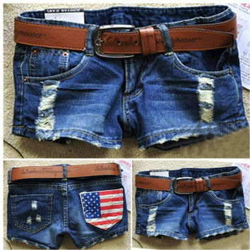 NEW WOMEN'S AMERICAN FLAG RIPPED JEANS SHORTS W/BELT