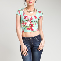 Lace Back Floral Print Crop Top in Mint