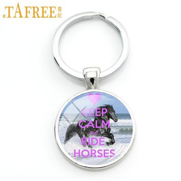 TAFREE New vintage Horse Riding silhouette keychain
