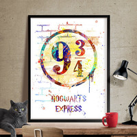 Harry Potter Hogwarts Express 9 3/4, Poster Nursery Gift , Watercolor art, Home Decor, For kids, Wall Art, Watercolor Print, art  (323)