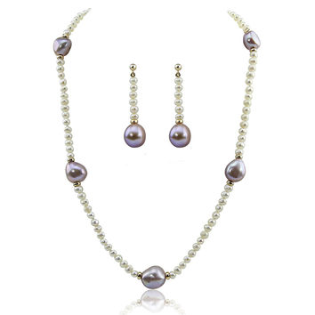 "14k Yellow Gold 11-13mm Lavender, 4-5mm White Baroque Freshwater Cultured Pearl Necklace 20"", earring set"