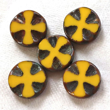 Five 14mm opaque bright yellow picasso, Czech glass, table-cut, carved, disc or coin beads, Celtic, Iron cross C0701