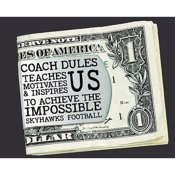 Football Coach Personalized Money Clip | Coach Gift