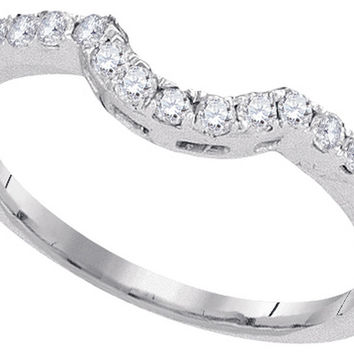 14kt White Gold Womens Round Natural Diamond Curved Band Wedding Anniversary Ring 1/4 Cttw