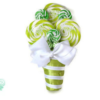 Green Lollipop Bouquet, Lollipop Bouquet, Candy Bouquet. Wedding, Bouquet, Candy, Lollipop, Maid of Honor, Bridesmaid, Bridal Party, Green